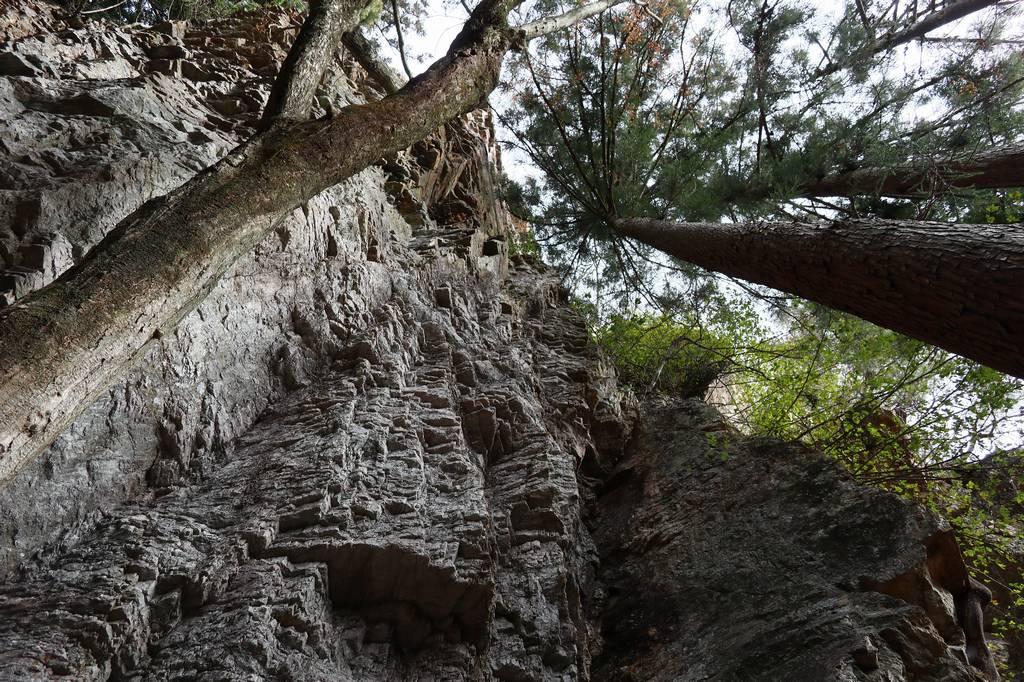 岩を見上げながら休憩