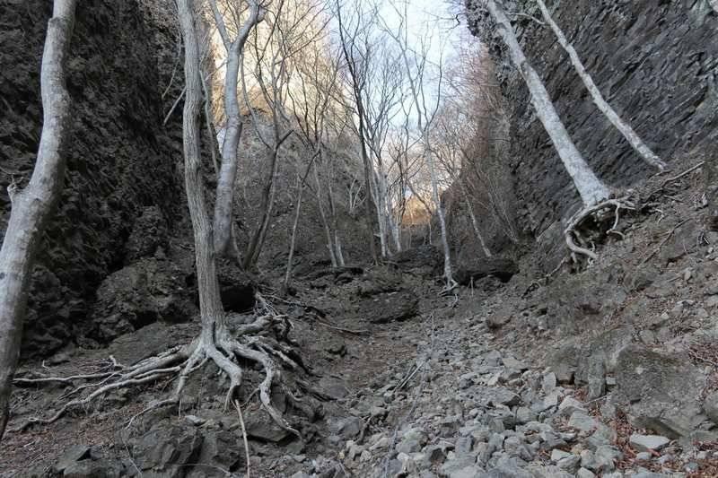 岩場が目立ち始めてクサリも。余裕が無くなり写真はほとんど撮りませんでした。