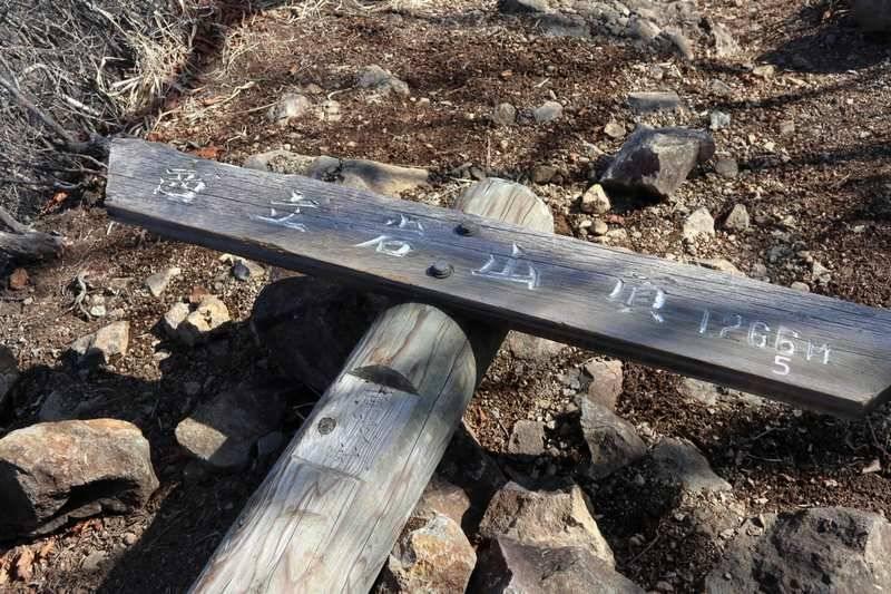 クサリ場を抜けて山頂へ。標識は倒れてました。