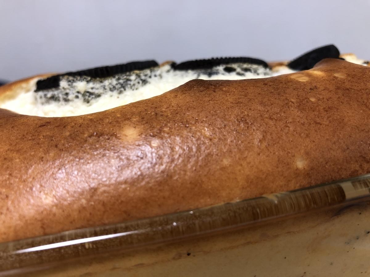 オレオチーズケーキの膨らむ様子