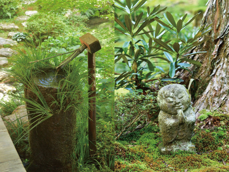 聚碧園の手水鉢と有清園のわらべ地蔵
