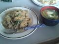 [朝ごはん]こごみと豚肉のピラフ(バター醤油風味)・いっぱい春野菜の味噌汁
