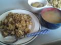 [朝ごはん]野沢菜チャーハン・じゃがバター山椒あんかけ・玉葱と枝豆の味噌汁