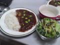 [朝ごはん]ハヤシライス・蕗の薹ドレッシングのグリーンサラダ