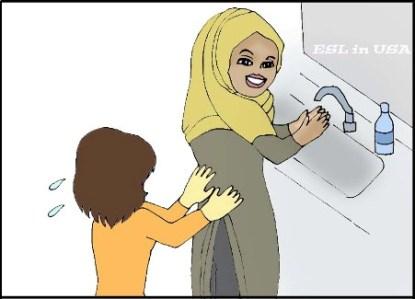 手洗いをするイスラムの衣装の女性を慌てて止める、の図
