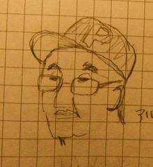 カザフスタン出身の男性の似顔絵
