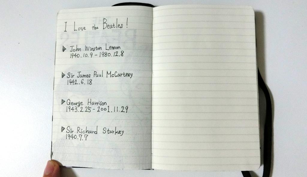 モレスキンのビートルズのノート