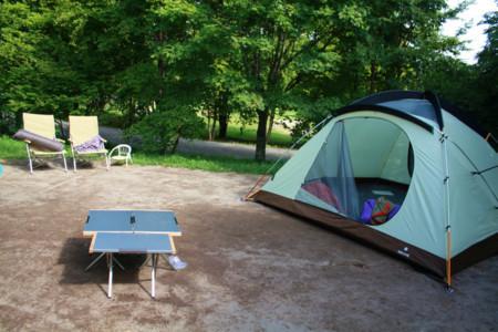 テント撤収作業中