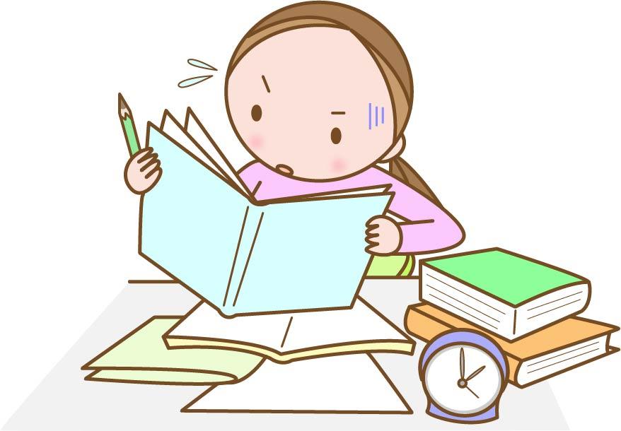 懸命に勉強する人の様子のイラスト
