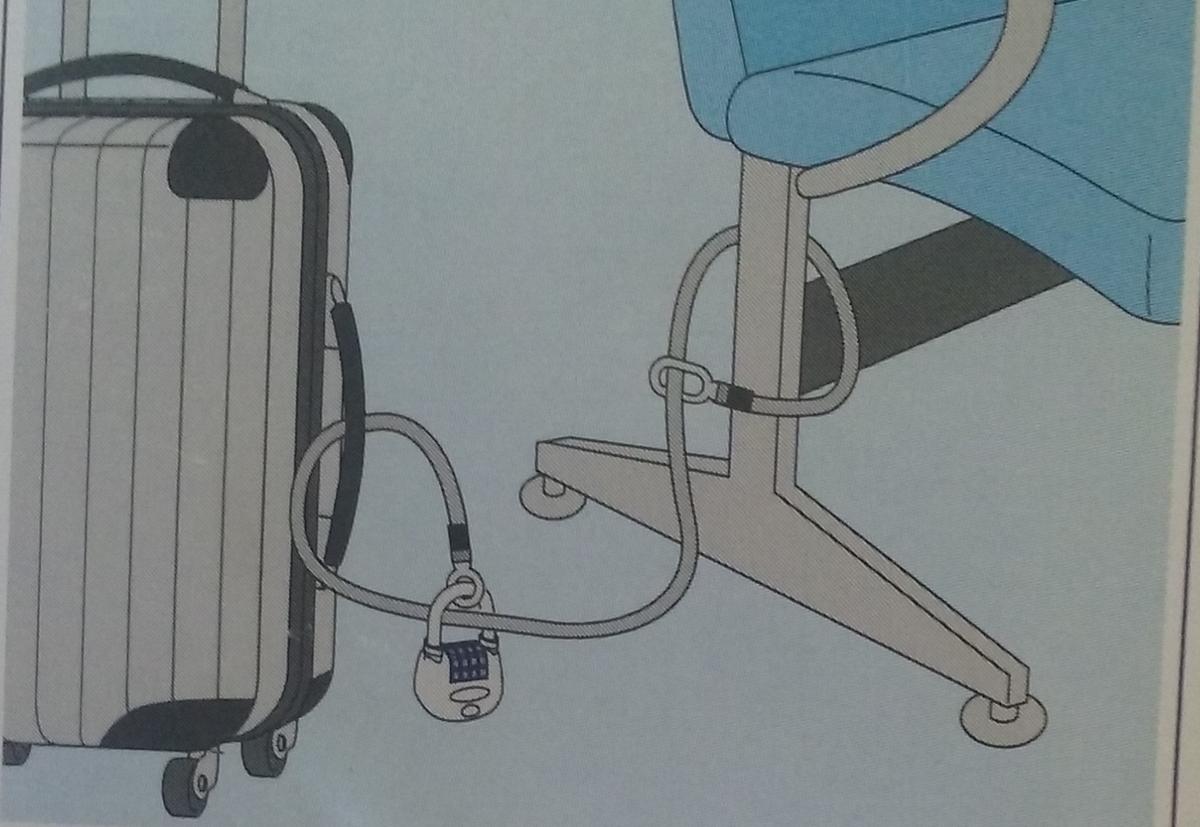 イラストで描かれた、ワイヤー式ロックの使い方の例
