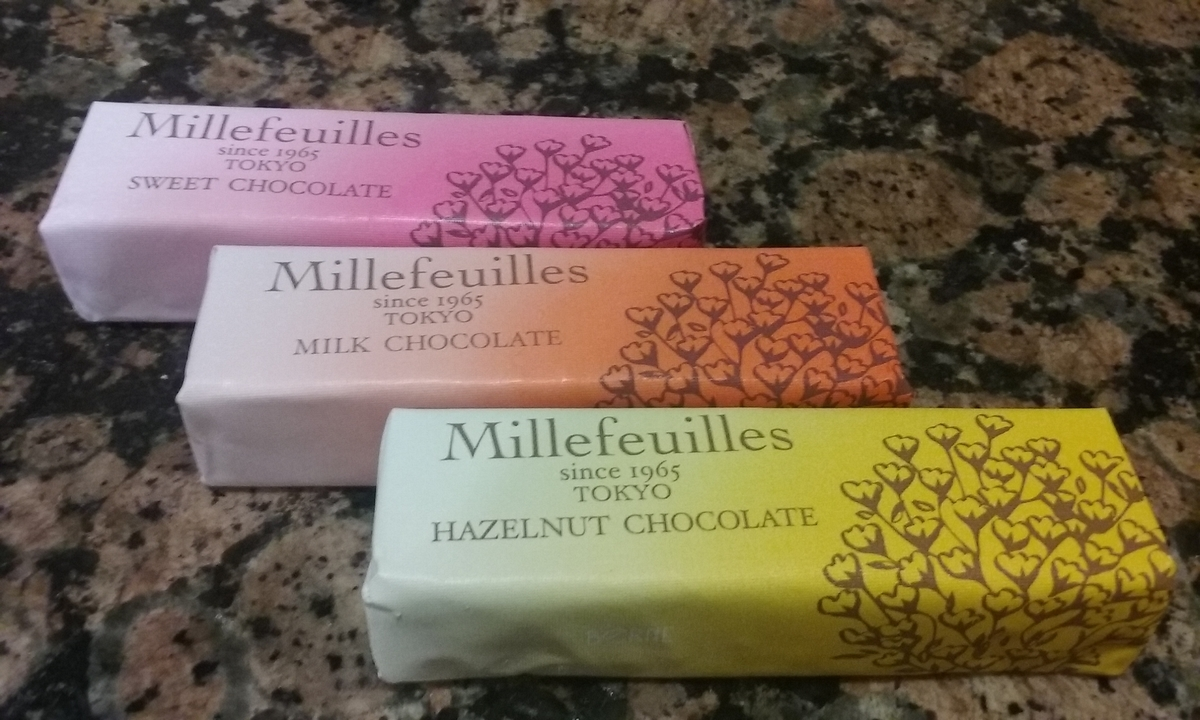 スティックタイプのチョコレートミルフィーユ。