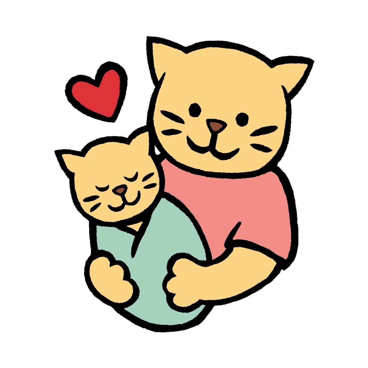 赤ちゃんねこを抱くママねこのイラスト