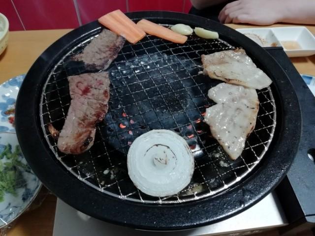 網焼きプレートで焼き肉