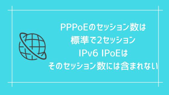 PPPoEのセッション数は標準で2セッション、IPv6 IPoEはそのセッション数には含まれない
