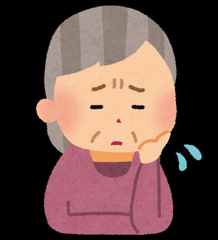 病気を心配するおばあさんの患者