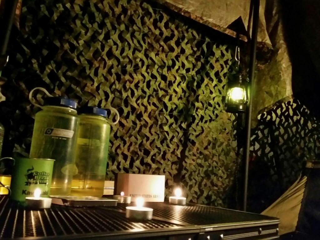 キャンプ飯と寝床の準備 LEDランタン キャンドルランタン