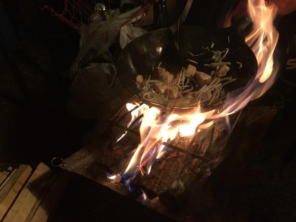 焚き火調理