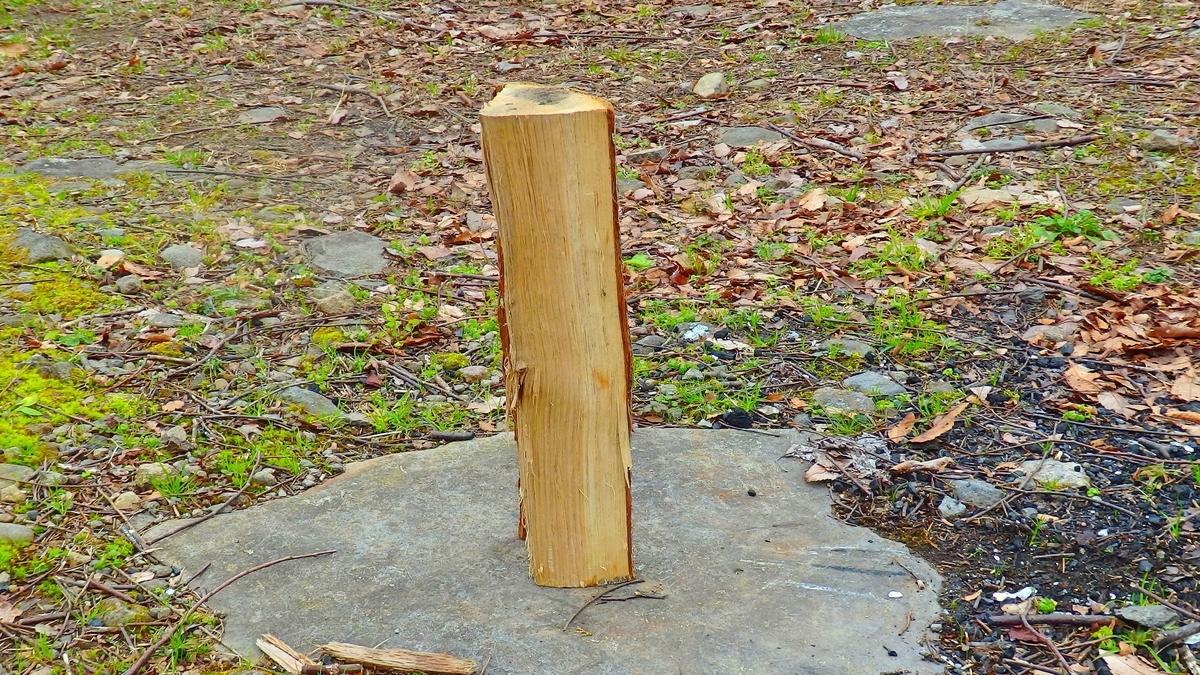 土台に立たせた薪