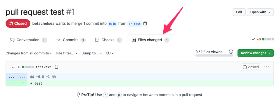 GitHubのPullRequestページのFiles changedのタブ