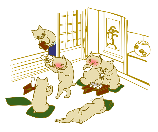 飲み会するネコたち