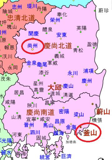 慶尚道の地図
