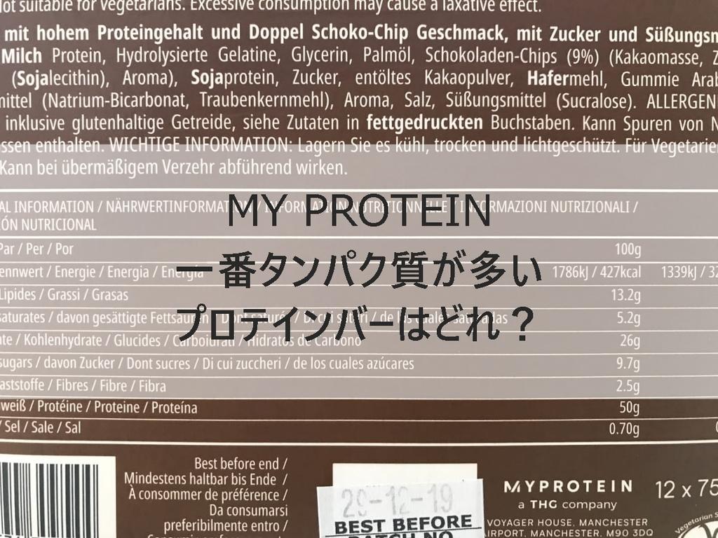 MYPROTEIN 一番タンパク質が多いプロテインバーはどれ?