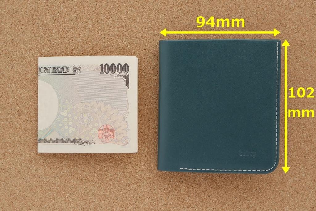 1万円札とBellroy High Lineを比べた画像