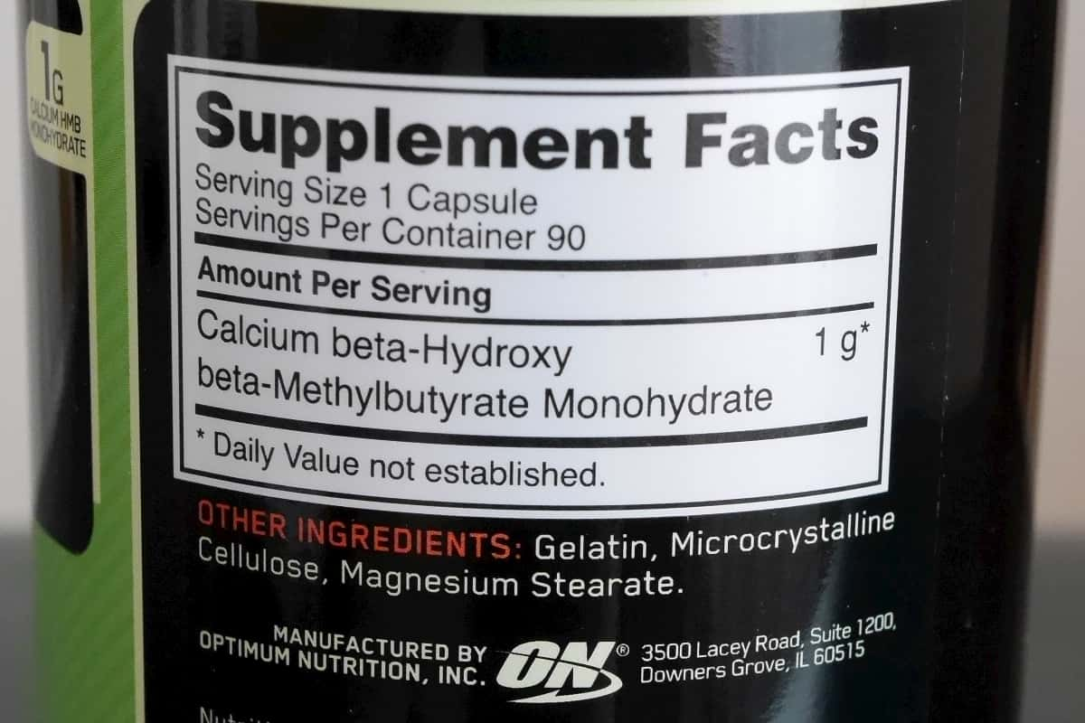HMB Supplement Facts