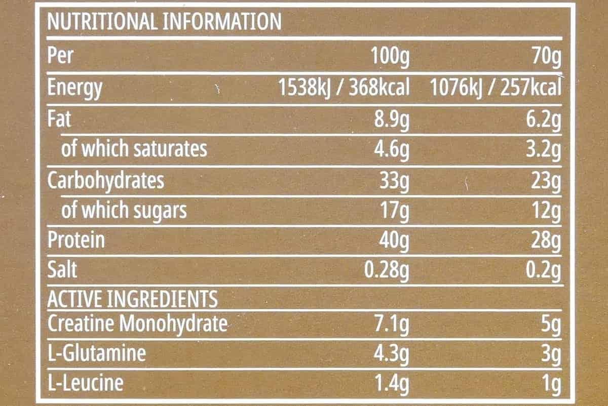 オールインワンパフォームバーの栄養成分
