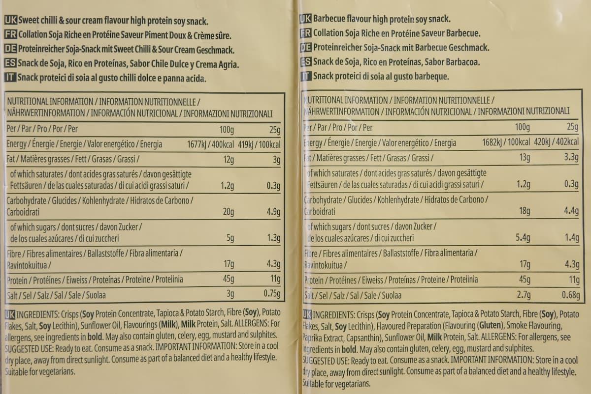 プロテインチップスの栄養成分