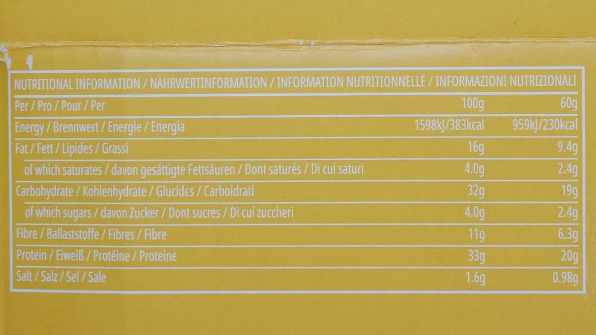 レイヤードプロテインバー ピーナツバターの栄養成分