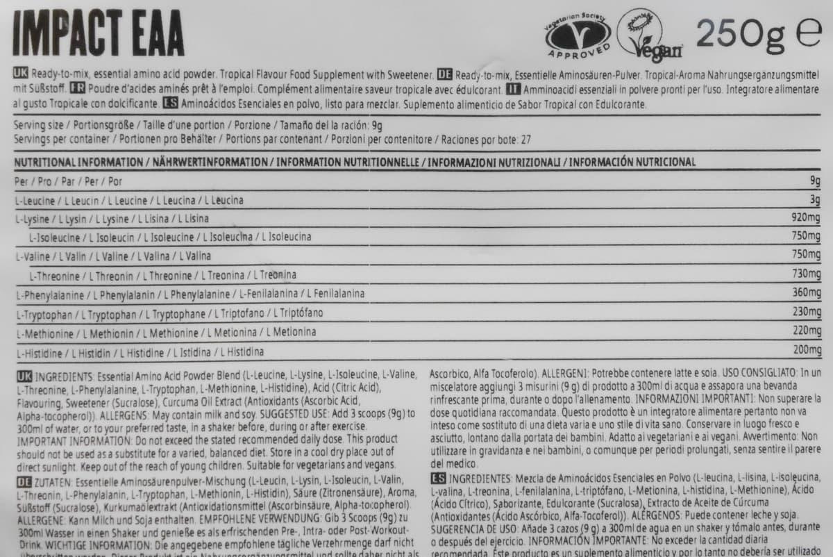 EAAトロピカルの栄養成分