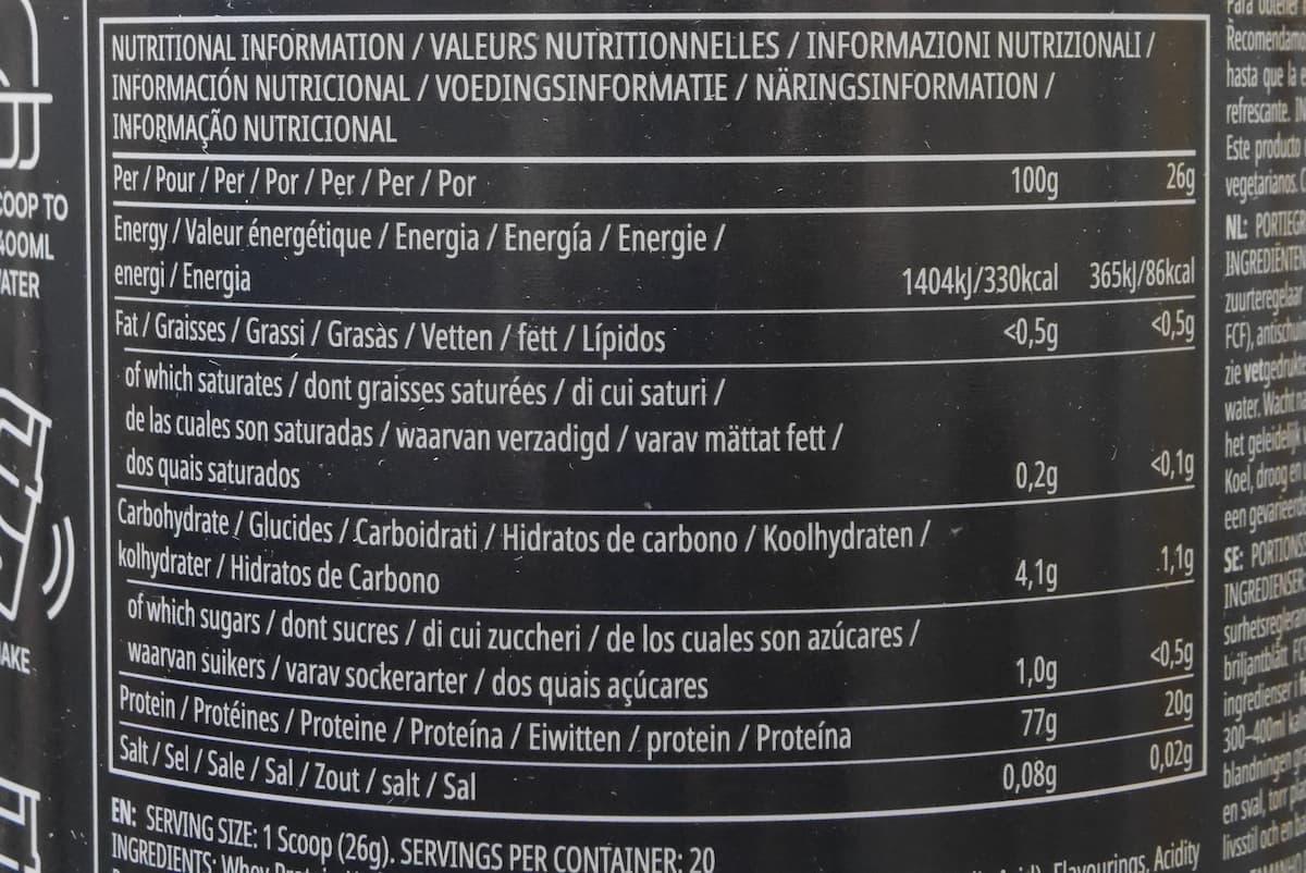 クリアホエイアイソレート ブルベリーラズベリーの栄養成分