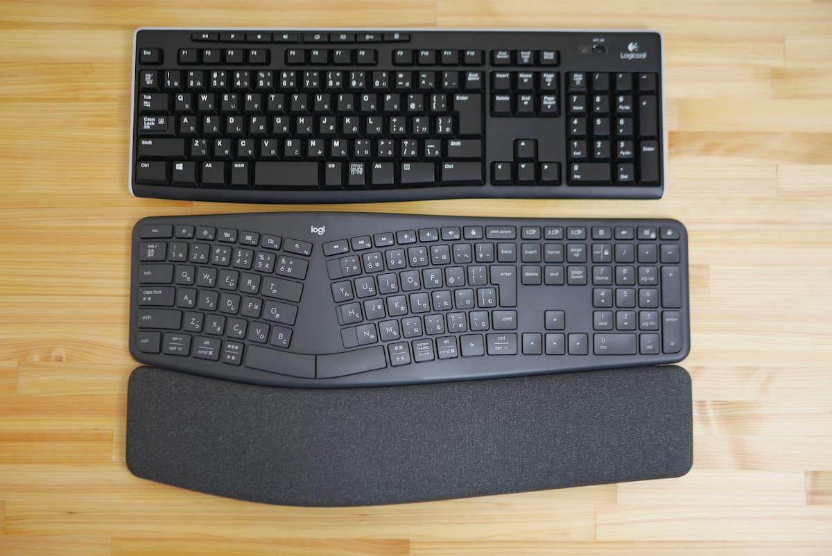 以前使っていた、同じくフルサイズキーボードのK270よりもさらに15mm長い