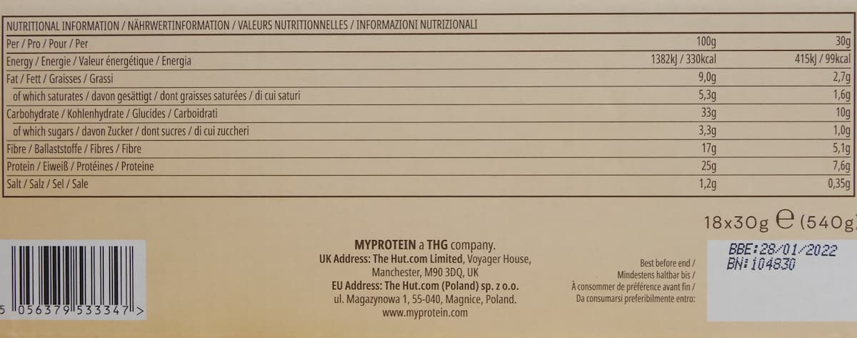 ポップロールの栄養成分