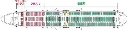 ボーイング767-300ER機内座席配置