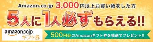 Amazonで3,000円以上お買い物したら5人に1人500円分のAmazonギフト券が当たるキャンペーン