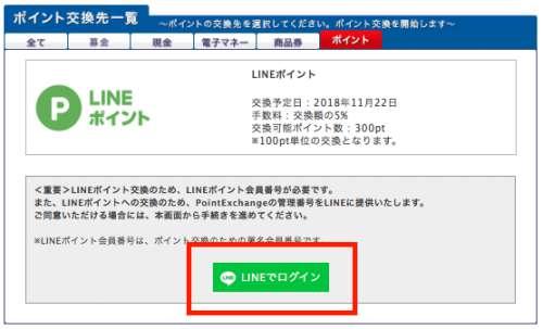 PointExchangeからLINEポイントへの交換方法2