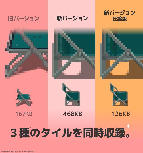 3種のタイルを同時収録。