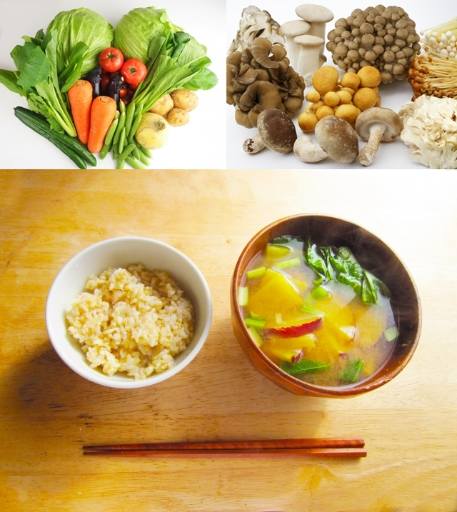 食物繊維豊富な野菜やキノコと和食メニュー