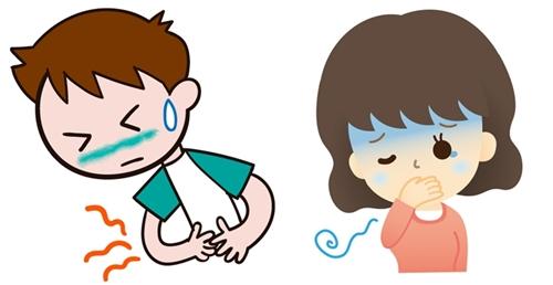 腹痛に苦しむ男子と気持ちがわるい女子のイラスト
