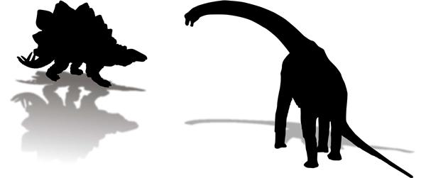 草食恐竜のシルエットイラスト
