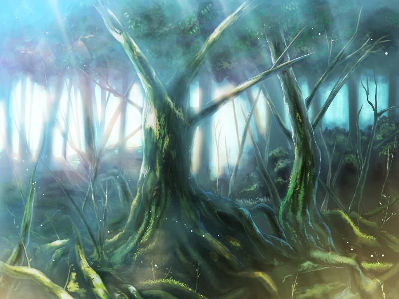 背景イラスト 深い森