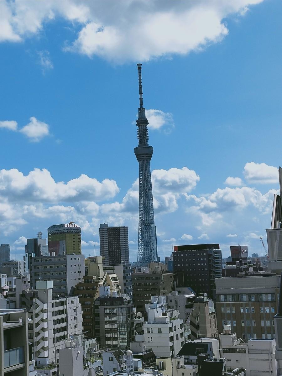 変なホテル東京 浅草田原町の屋上階からスカイツリー