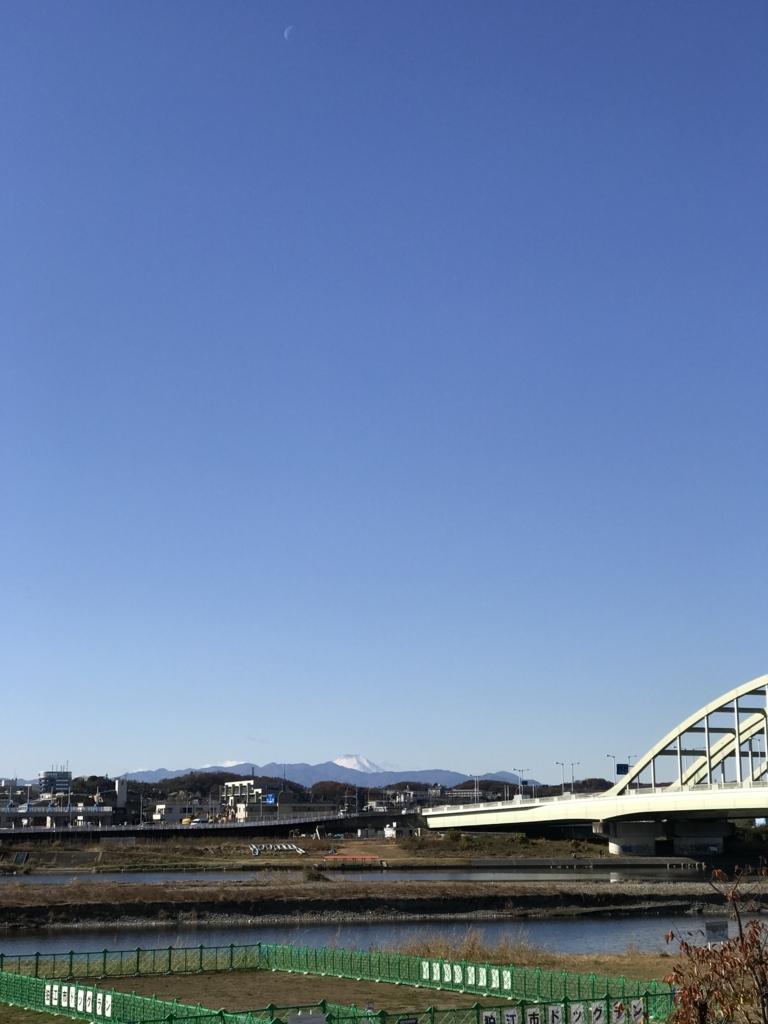 多摩川から富士を望む