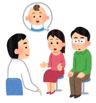 妊活中の夫婦と診察する医師のイラスト