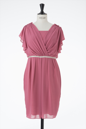 【S/M/L/LL】シフォンカシュクール袖付きドレス(ピンク)_1