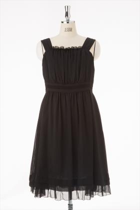 《6月限定価格》【大きいサイズ】シフォンウエスト切替ドレス_1