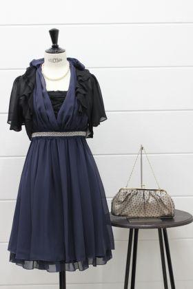 【SS-LLまで 大人可愛いキレイめドレス】2WAYレースアップドレスネイビー(NO,0157)_1