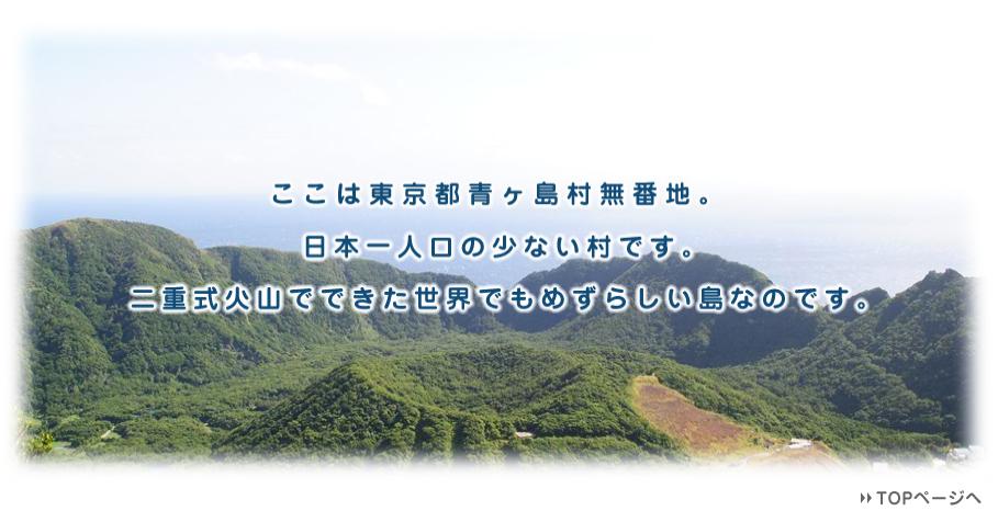 青ヶ島村のホームページにようこそ!ここは日本一人口が少ない村です。